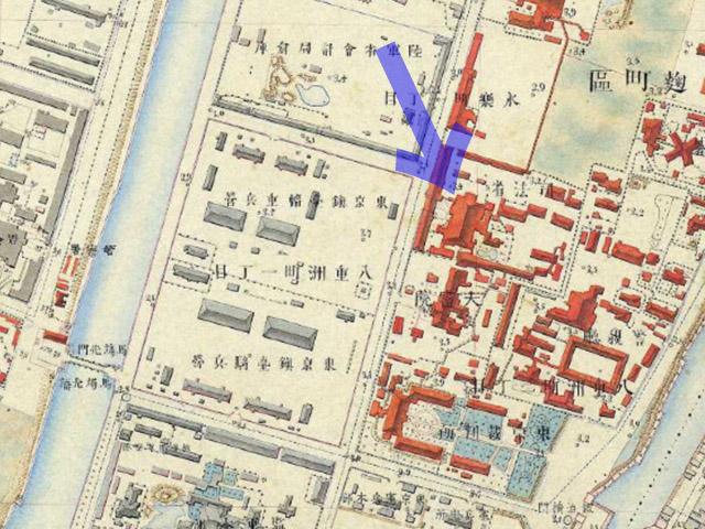 古地図:明治9-17年(1876-84年)5千分の1東京図測量原図より司法省。