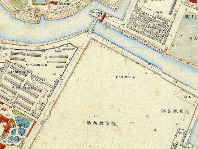 古地図:明治9-17年(1876-84年)5千分の1東京図測量原図より陸軍練兵場