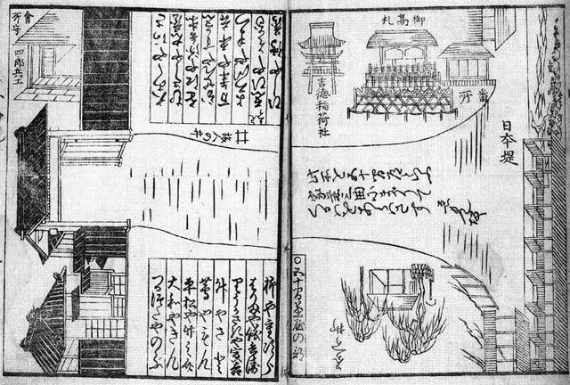 嘉永元年(1848年)吉原細見より吉原大門、見返り柳、衣紋坂、日本堤。