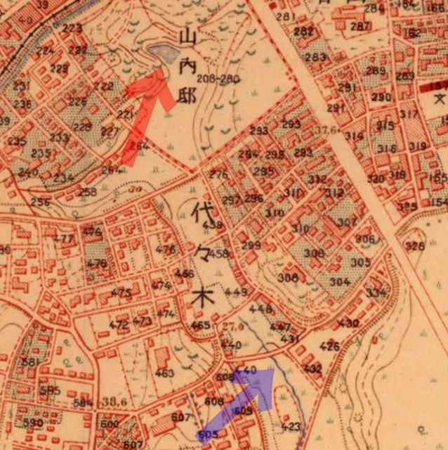 古地図:大正5-10年(1917-21年)陸地測量部2万5千分の1地形図より山内邸の池と河骨川。