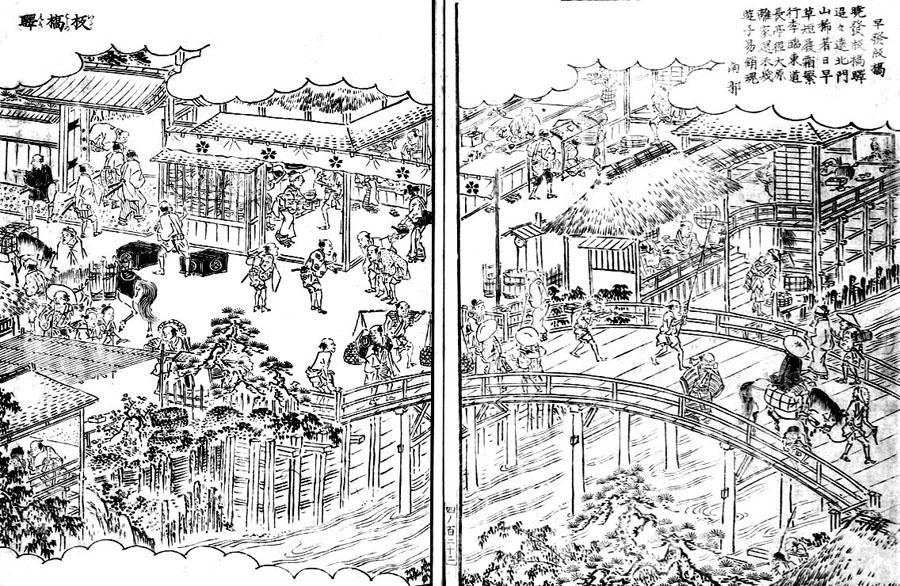 江戸名所図会より板橋驛(クリックで拡大)。