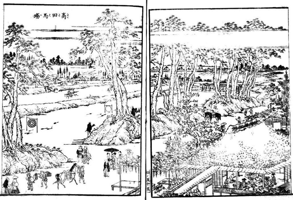 江戸名所図会より高田の馬場(クリックで拡大)。