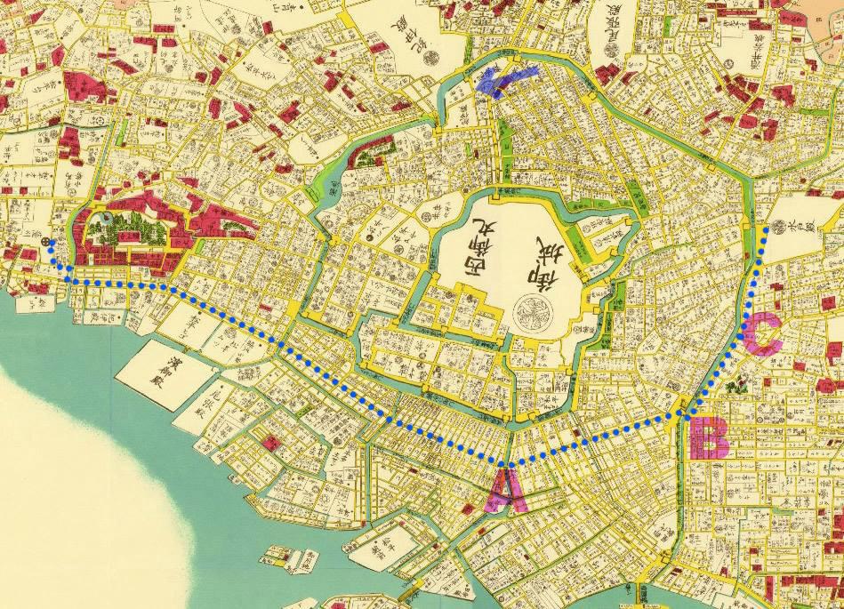 三田の薩摩藩上屋敷から小石川の水戸上屋敷(北が右)。