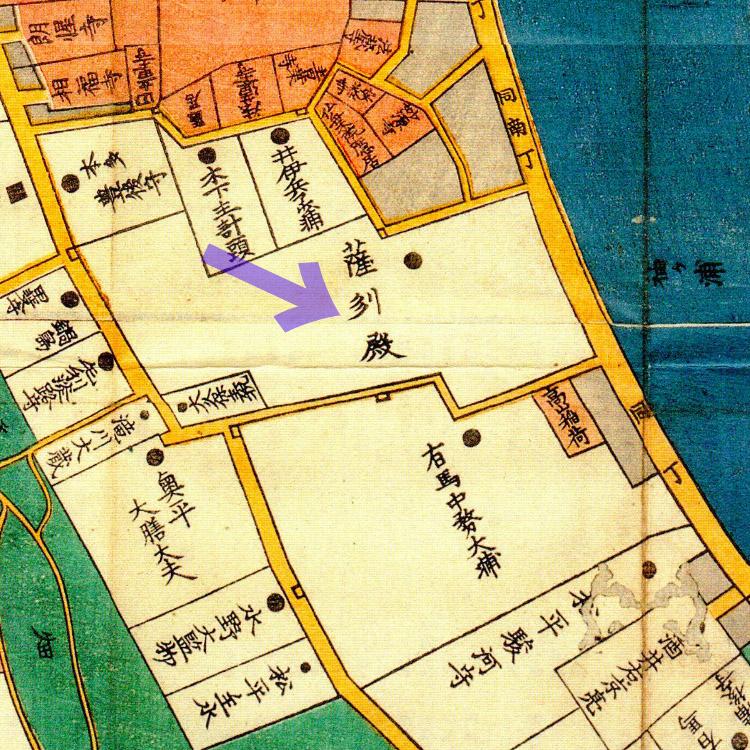 古地図:嘉永三年(1850年)芝三田二本榎高輪辺絵図より薩摩中屋敷