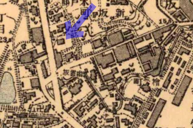 古地図:明治39-42年(1906-09年)2万分の1正式図測図より乃木邸