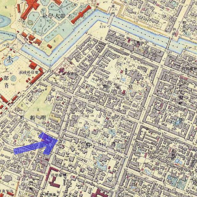 古地図:明治9-17年(1876-84年)5千分の1東京図測量原図より乃木希典が住んだ辺り。