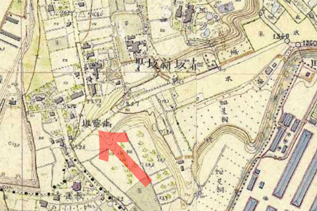 古地図:明治9-17年(1876-84年)5千分の1東京図測量原図より幽霊坂