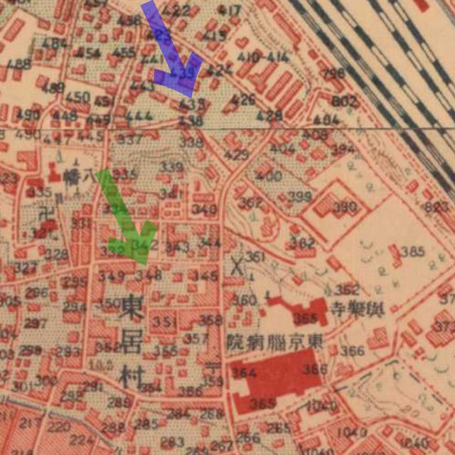 大正5-10年(1917-21年)陸地測量部2万5千分の1地形図より芥川家(田端435)と楽天堂病院(田端348)。