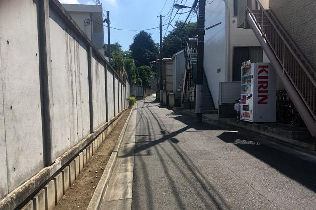 幽霊坂坂下より、左側与楽寺、右側東京脳病院跡地