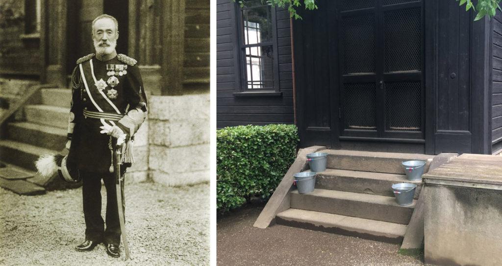 旧乃木邸玄関と乃木希典