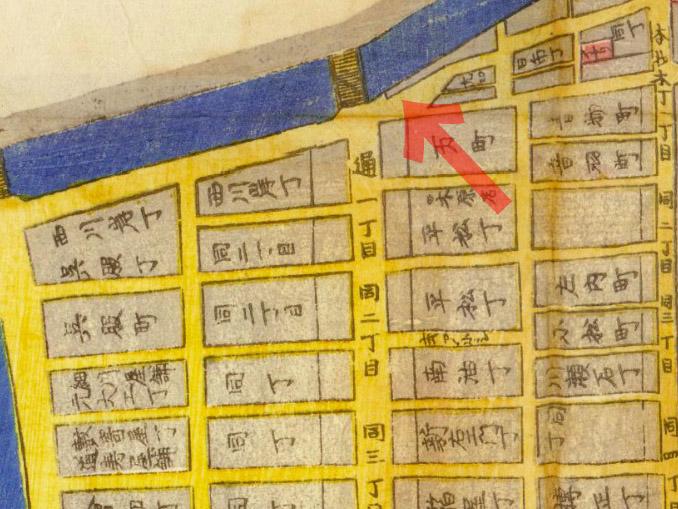 古地図:安政四年(1857年)築地八町堀日本橋南絵図より