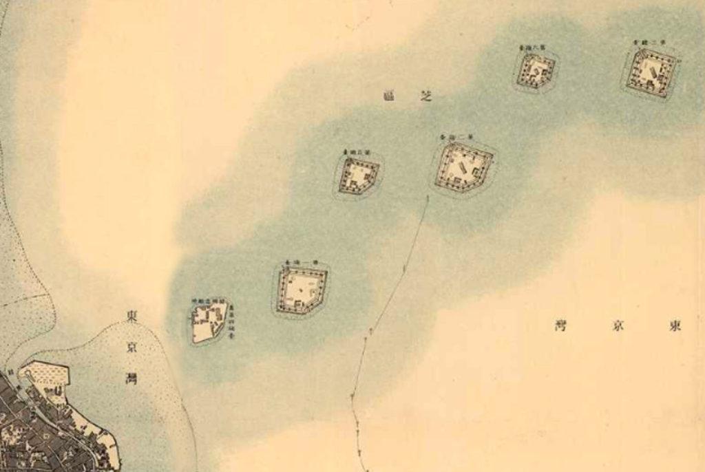 古地図:明治39-42年(1906-09年)2万分の1正式図測図より品川台場