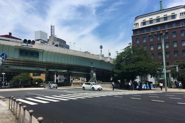 日本橋南詰の東側が晒し場跡。