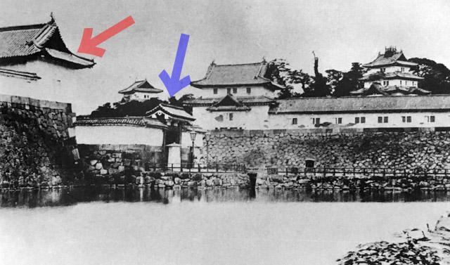 古写真:坂下門高麗門と渡櫓