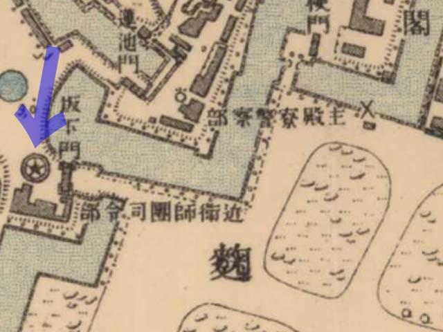 古地図:明治39-42年(1906-09年)2万分の1正式図測図より近衛師団司令部。