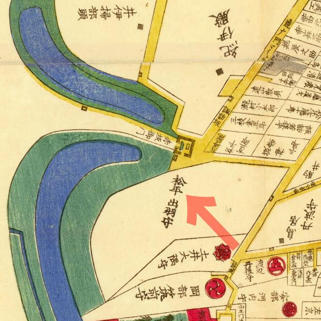 古地図:嘉永三年(1850年)外桜田絵図より松平出羽守