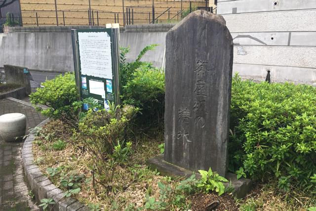 茶屋坂の清水の碑