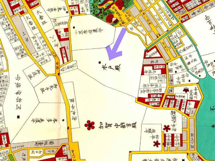 古地図;万延二年(1861年)尾張屋版本郷湯島絵図より水戸藩中屋敷。