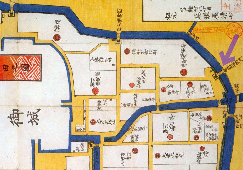 嘉永二年(1849年)大名小路神田橋内内桜田之図より常盤橋御門