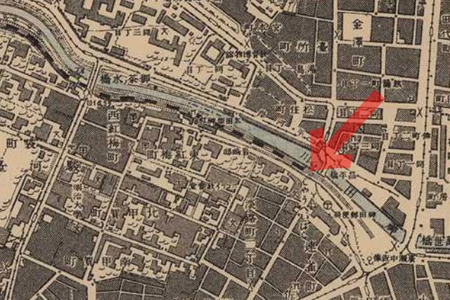 古地図:明治41-42年(1908-09年)1万分の1測図より昌平橋駅