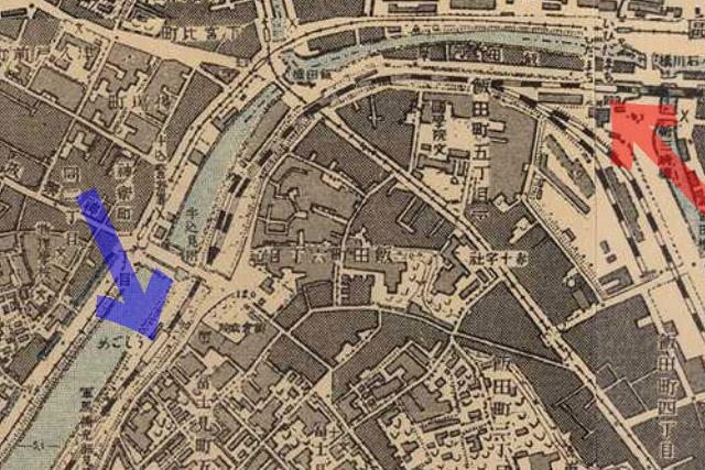 古地図:明治41-42年(1908-09年)1万分の1測図より牛込駅、飯田町駅