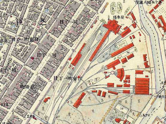 古地図:明治9-17年(1876-84年)5千分の1東京図測量原図より新橋停車場