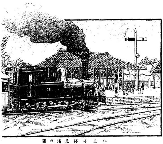 明治23年「甲武鉄道もより名所案内」八王子停車場の図
