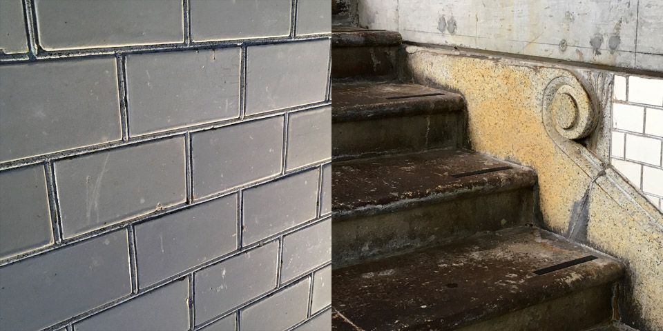 1912階段の白タイル