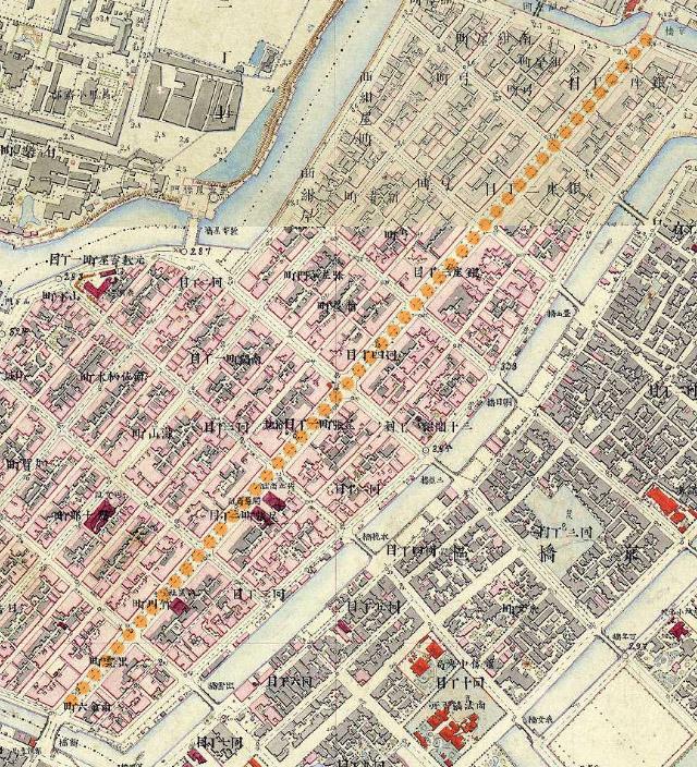 古地図:明治9-17年(1876-84年)5千分の1東京図測量原図より京橋から新橋。
