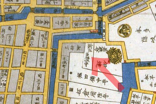古地図:嘉永二年(1849年)築地八町堀日本橋南絵図より新庄美濃守