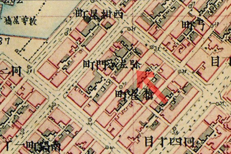 古地図:明治9-17年(1876-84年)5千分の1東京図測量原図より弥左衛門町