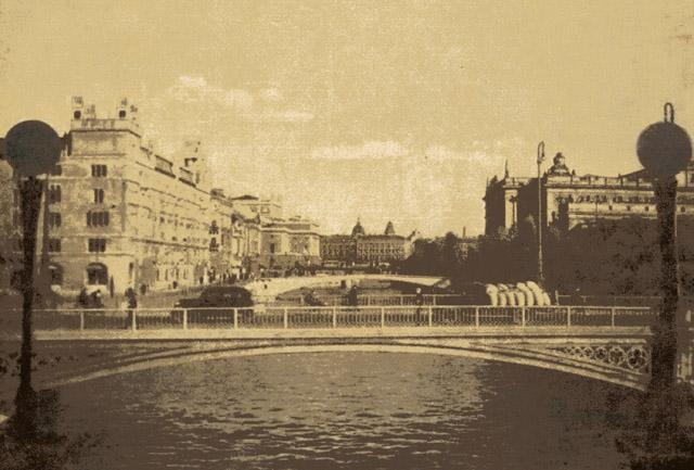 当時のストックホルム。手前バサ橋、奥に国会議事堂。