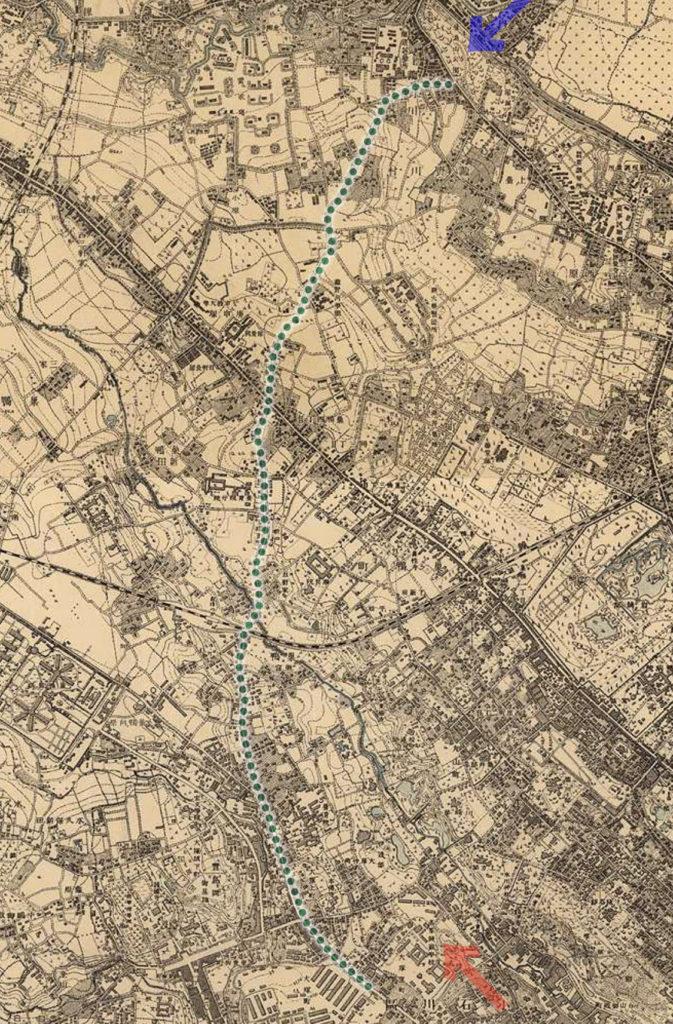 古地図:明治39-42年(1906-09年)2万分の1測図より東京高等師範学校から飛鳥山へ