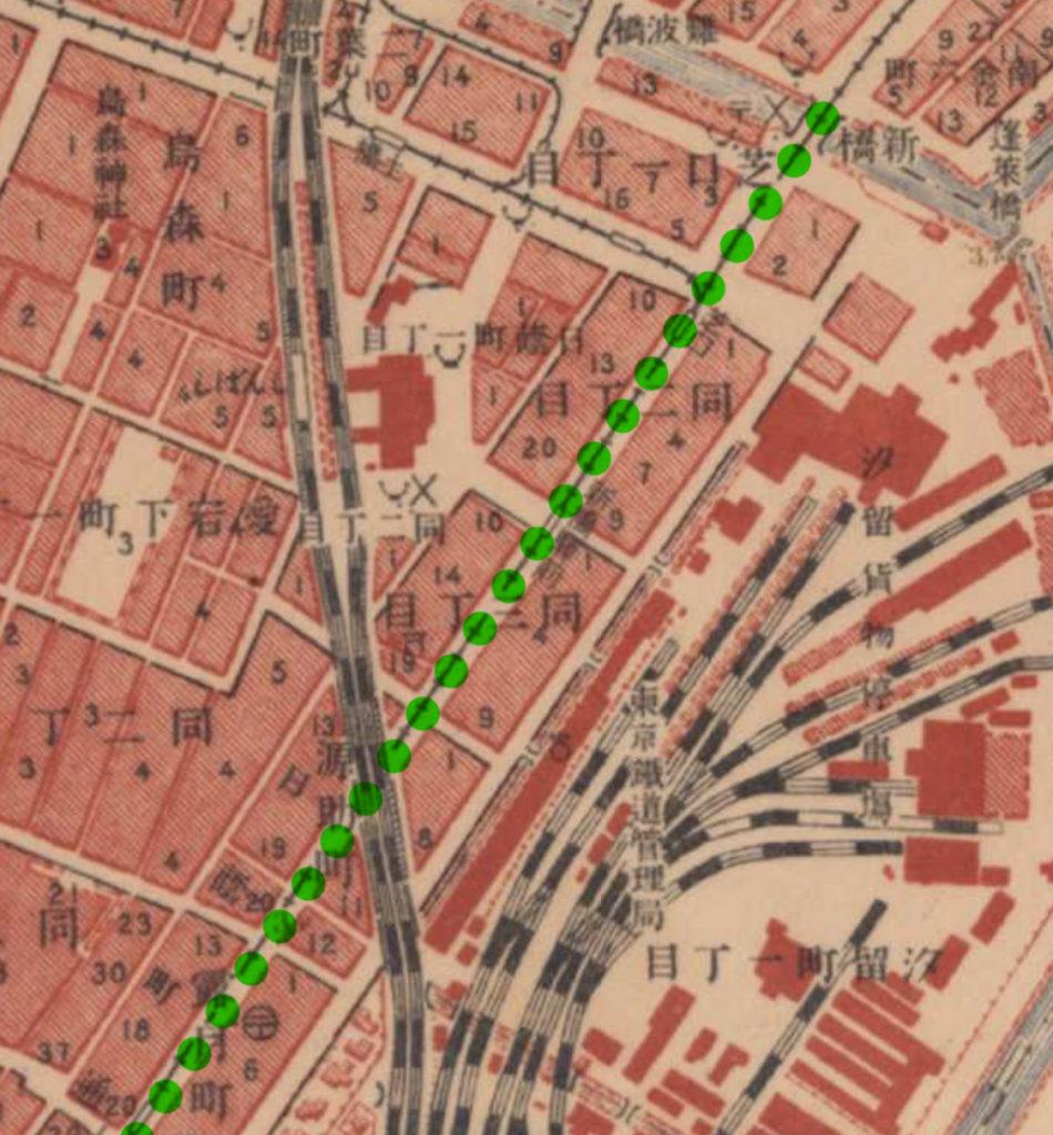 古地図:大正5-10年(1917-21年)陸地測量部2万5千分の1地形図より露月町より新橋