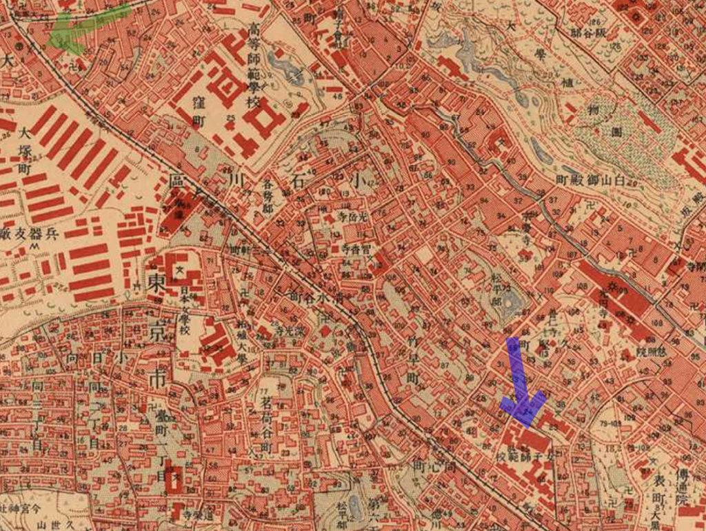 古地図:大正5-10年(1917-21年)陸地測量部2万5千分の1地形図より播磨屋と東京女子師範学校